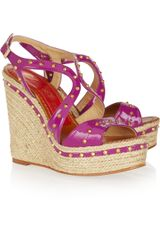 Paloma Barceló Mallorca Studded Patentleather Espadrille Sandals - Lyst