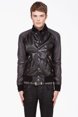 Pierre Balmain Black Leather Bomber Jacket in Black for Men - Lyst
