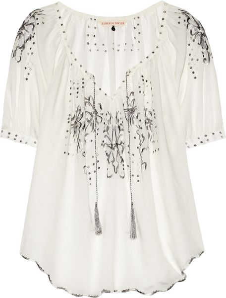 Rebecca Taylor Moroccan Embroidered Voile Top in White