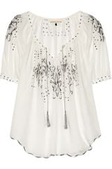 Rebecca Taylor Moroccan Embroidered Voile Top in White - Lyst