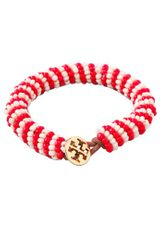 Tory Burch Dual Color Logo Beaded Bracelet - Lyst