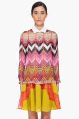 Carven Multicolor Silk Blouse in Multicolor - Lyst