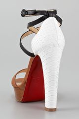 Christian Louboutin Summerissima Crisscross Platform Sandal, Brown/white in Multicolor (brown white) - Lyst