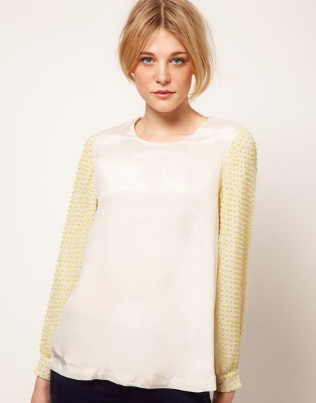 French Connection French Connection Sequin Sleeved Top in White - Lyst