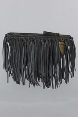 House Of Harlow The Hayden Clutch in Black Snake