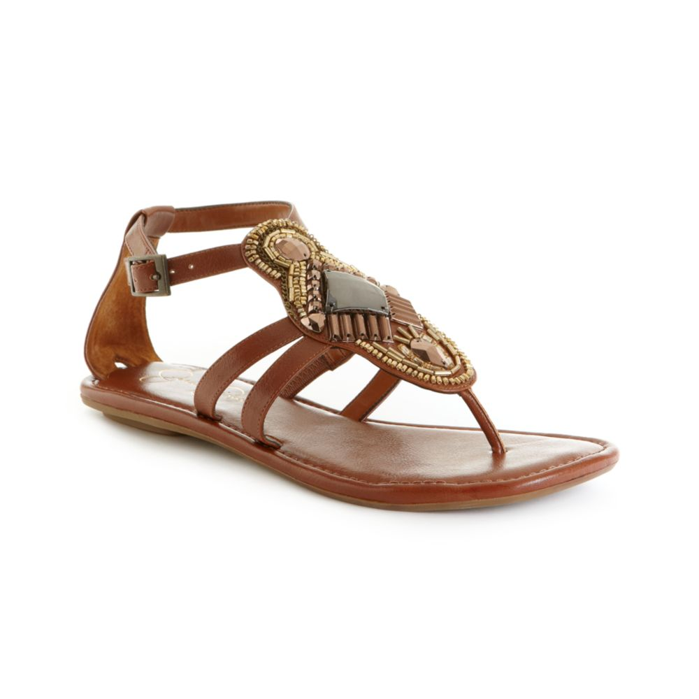 Lyst Jessica Simpson Camille Flat Sandals In Brown