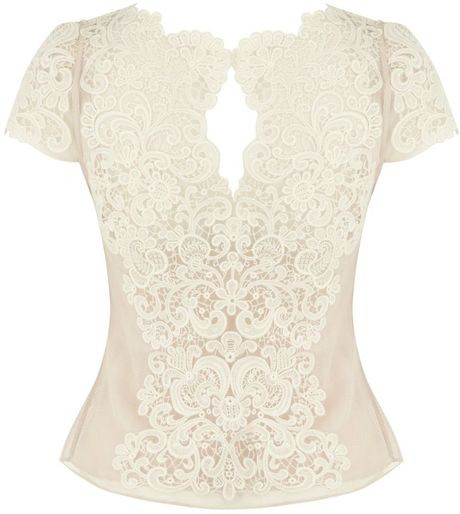 Karen Millen Summer Cotton Lace Top in White - Lyst