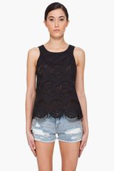Marc By Marc Jacobs Black Palmetto Eyelet Tank Top
