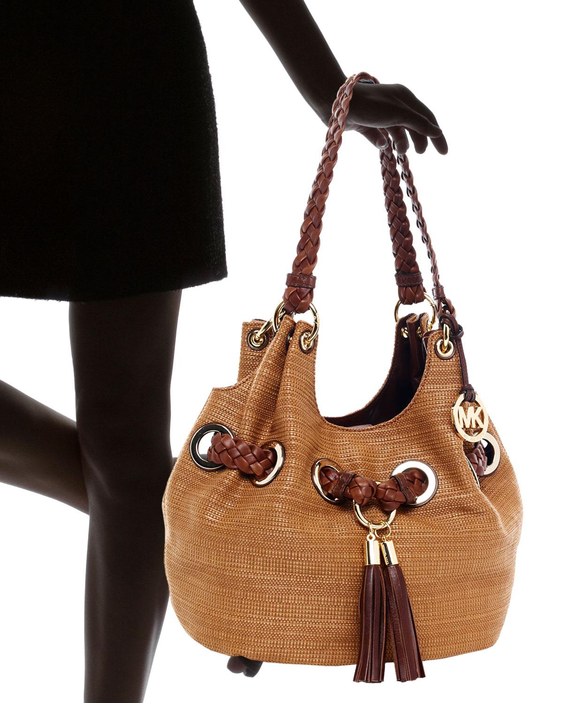 5eea00b047d8 MICHAEL Michael Kors Large Grommet Shoulder Bag Luggagemocha in ...