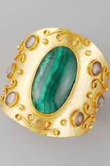 Stephanie Anne Malachite Cuff - Lyst