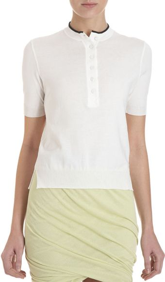T By Alexander Wang Collarless Polo - Lyst