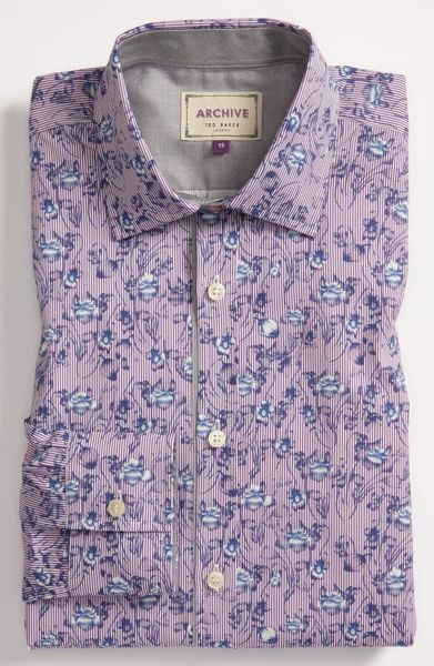 Ted Baker Trim Fit Dress Shirt In Purple For Men Lyst