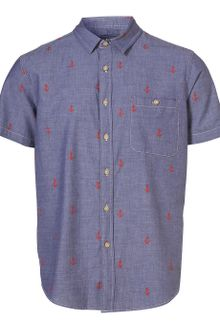 Topman Blue Chambray Anchor Pattern Short Sleeve Shirt - Lyst