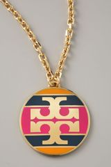 Tory Burch Striped Logo Pendant Necklace Magenta - Lyst