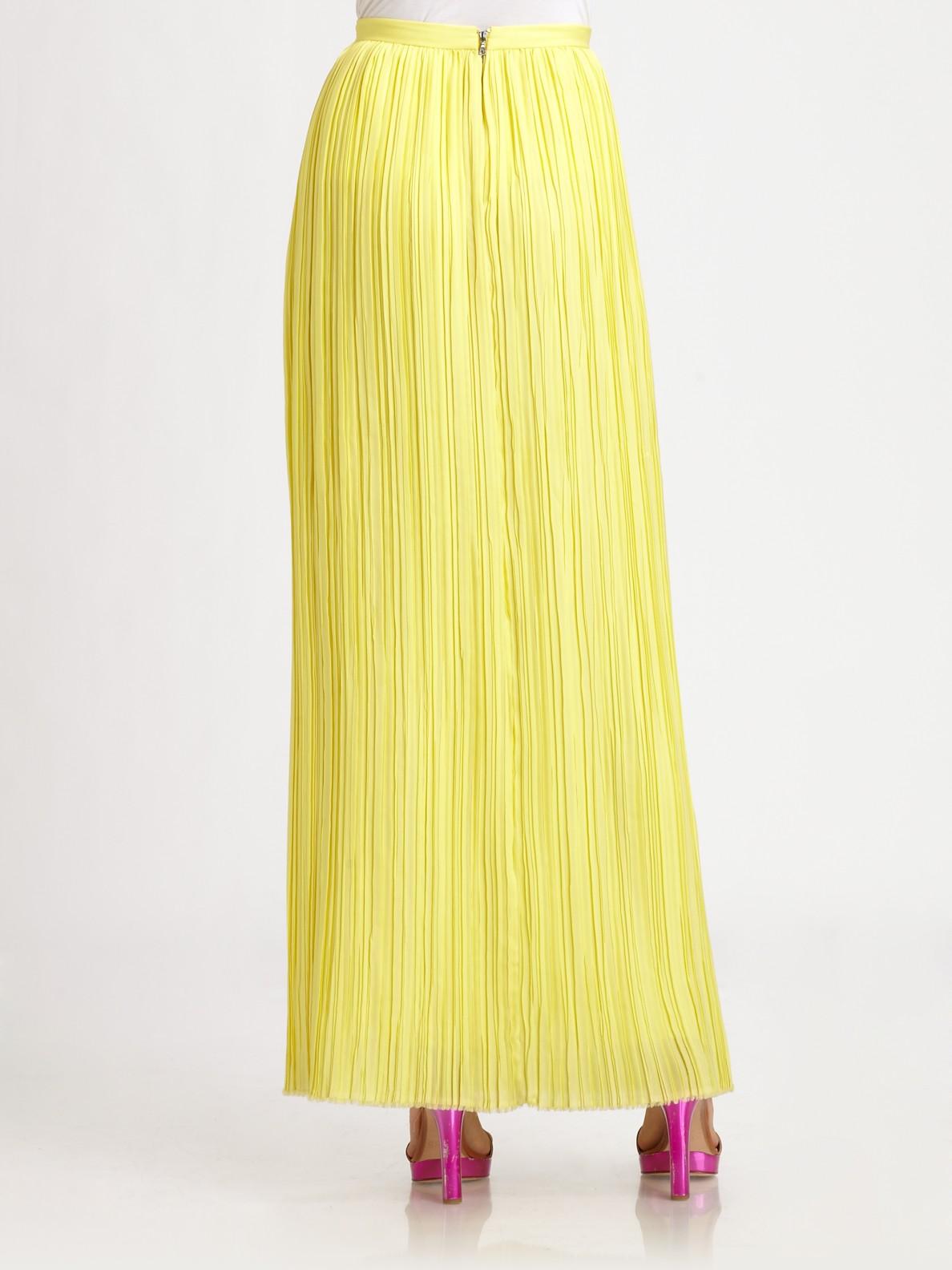 maxi skirt viva pleated in yellow lyst