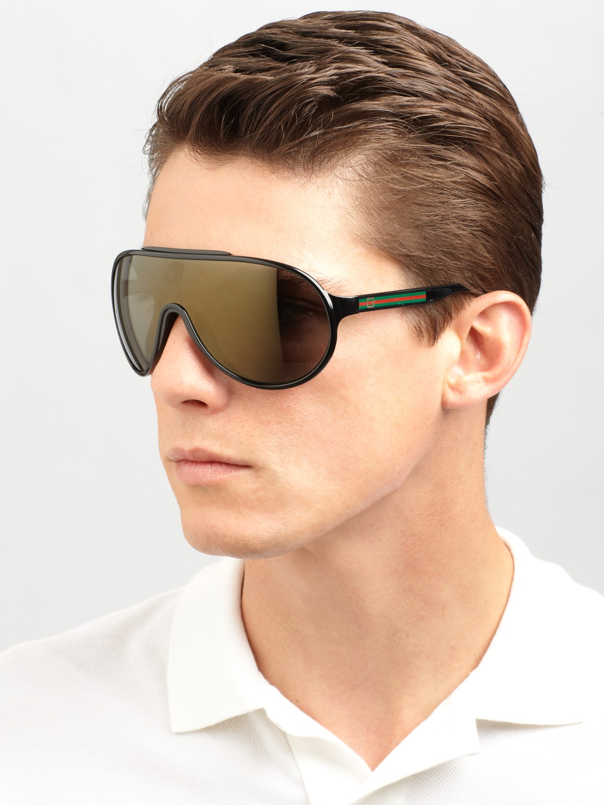 Shield Sunglasses Mens  gucci plastic shield sunglasses in black for men lyst
