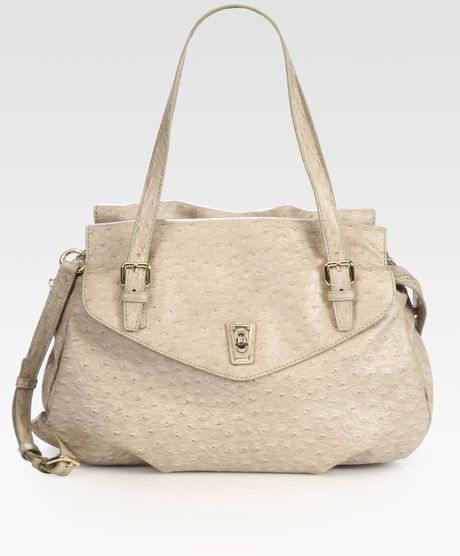 Marc By Marc Jacobs Aurora Ostrichstamped Shoulder Bag in Beige - Lyst
