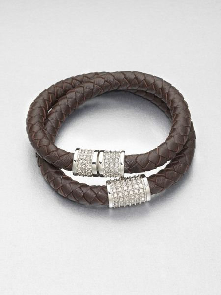 Michael Kors Stone Accented Plaited Wrap Leather Bracelet in Brown (chocolate) - Lyst