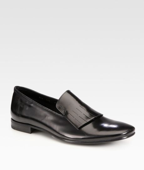 Prada Spazzalato Slipon Kiltie Loafers in Black for Men - Lyst
