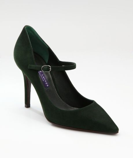 Ralph Lauren Collection Suede Mary Jane Pumps in Green - Lyst