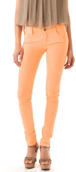 Alice + Olivia Neon 5 Pocket Skinny Jeans in Orange - Lyst