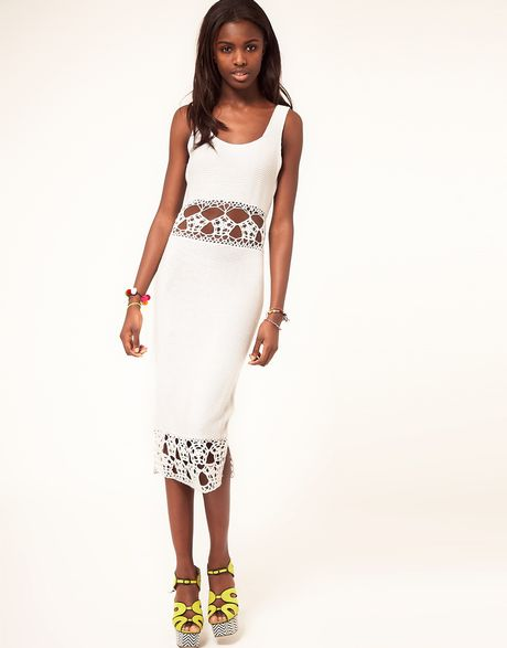 Asos Collection Asos Crochet Village Midi Dress in White - Lyst