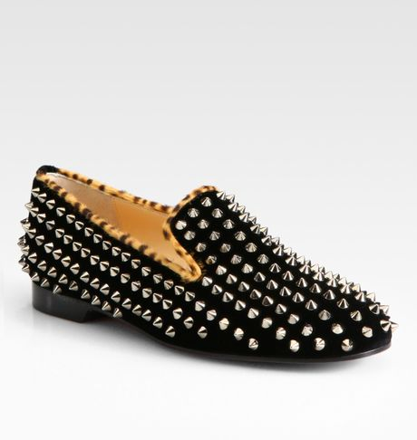 Christian Louboutin Studded Velvet Smoking Slippers in Black - Lyst