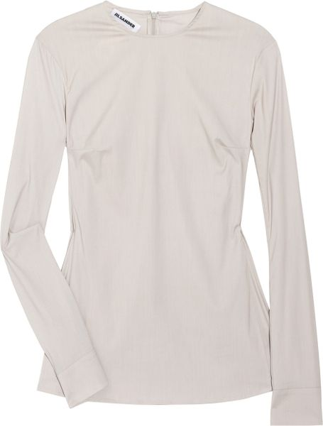 Jil Sander Stretch Cottonblend Shirt in Beige - Lyst