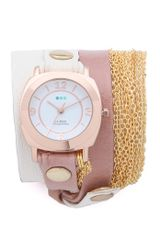 La Mer Collections Joshua Tree Chain Wrap Watch in Pink (multi) - Lyst