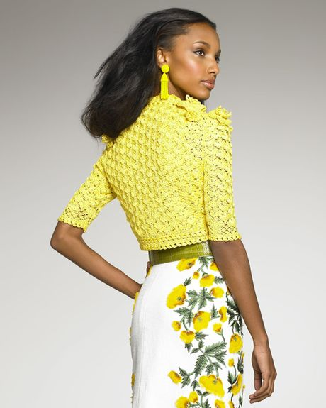 Oscar De La Renta Crocheted Bolero in Yellow (daffodil) - Lyst
