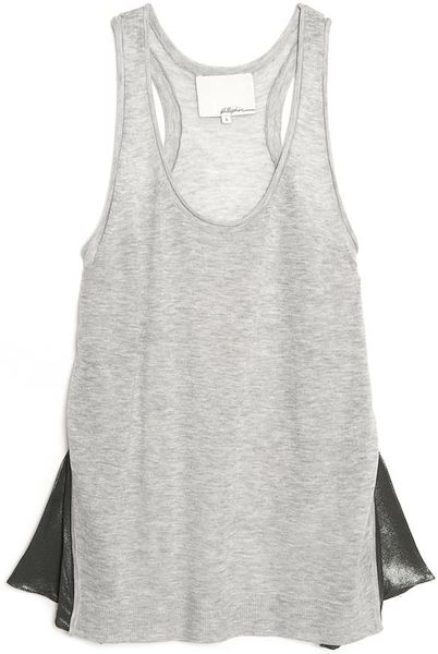 3.1 Phillip Lim Side Pleat Racerback Tank in Gray (grey) - Lyst