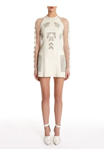 Alexander Wang Stadium Laser Cut Long Sleeve Performance Dress in White (parchment) - Lyst