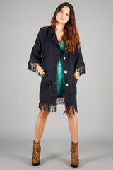 American Gold American Gold Holy Mountain Fringe Coat in Navy in Blue (gold) - Lyst