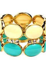 Anne Klein Ivory and Turquoise Bead Stretch Bracelet - Lyst