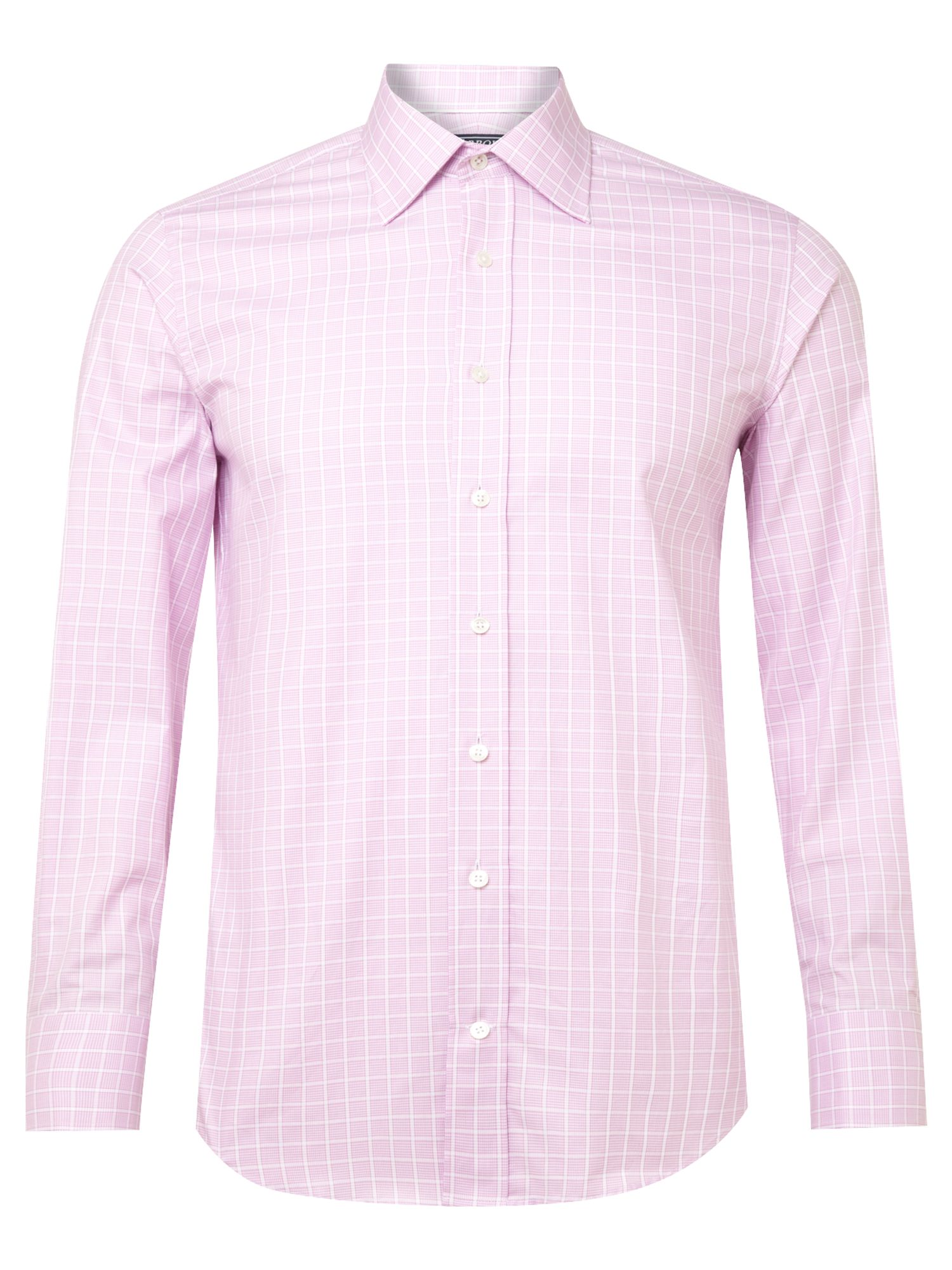 Arrow Long Sleeved White Collar Check Shirt In Purple For