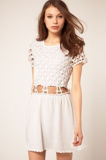 ASOS Collection Asos Crochet Village Fit and Flare Dress - Lyst