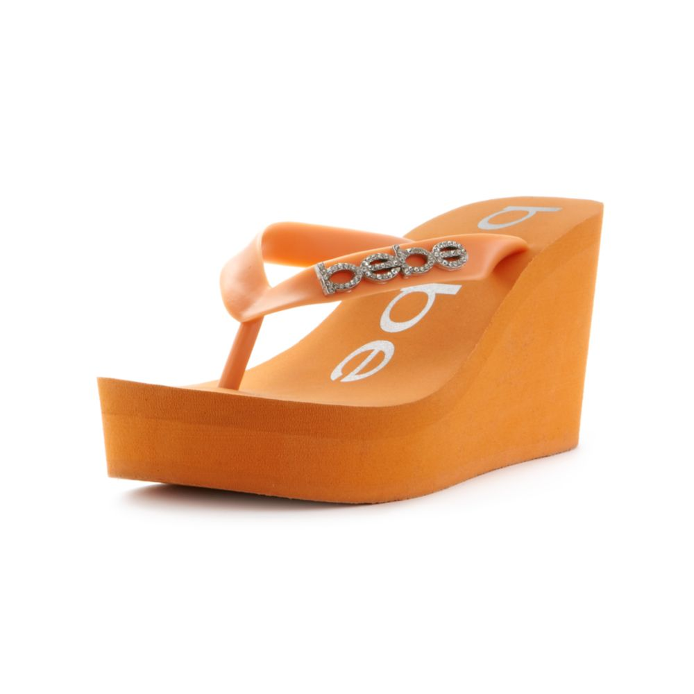 74c3fcdd9c92 Lyst bebe kristy wedge flip flop sandals in orange jpg 1000x1000 Wedge flip  bebe sandals flops