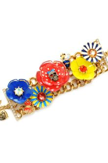 Betsey Johnson Flower and Skull Wide Toggle Bracelet - Lyst