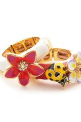 Betsey Johnson Flower and Lady Bug Two Stretch Ring Set - Lyst