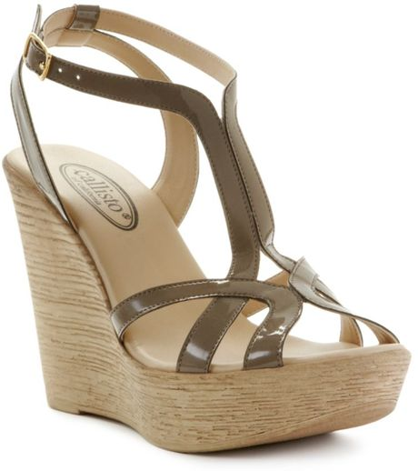 Callisto Monaco Wedge Sandals in Beige (putty patent)