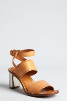 Celine Camel Leather Metal Stacked Heel Sandals - Lyst