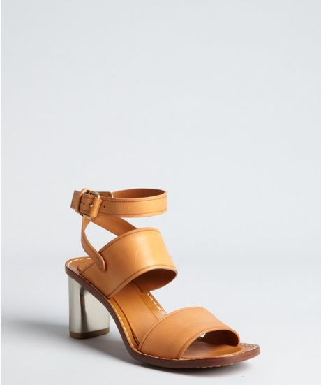 Celine Camel Leather Metal Stacked Heel Sandals in Beige (camel) - Lyst