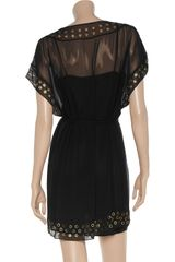 Diane Von Furstenberg New Sol Grommettrimmed Silkchiffon Dress in Black - Lyst