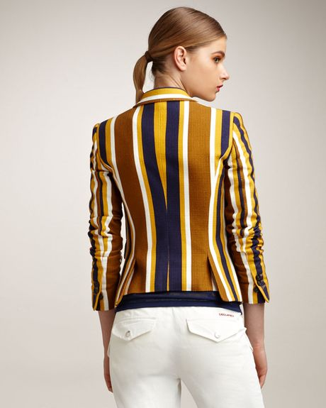 Dsquared2 Striped Blazer in Brown (yellow stripes) - Lyst