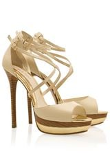 Elie Saab Ankle Strap Platform Sandals in Beige (cream) - Lyst