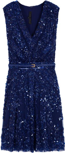 Elie Saab Short Sleeve Beaded Dress in Blue - Lyst