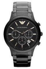 Emporio Armani Chronograph Black Ion Plated Stainless Steel Bracelet Watch - Lyst