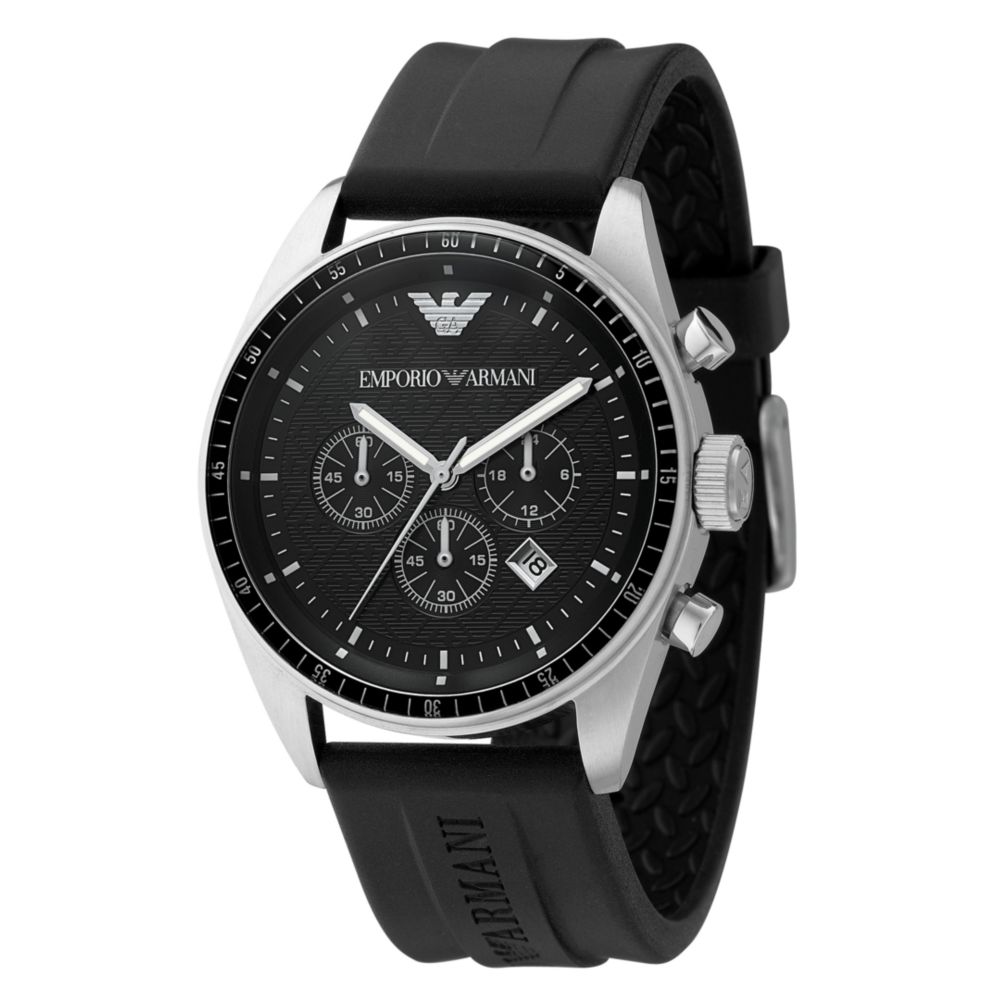 emporio armani mens chronograph black rubber strap watch in black gallery previously at macy s · men s rubber strap watch