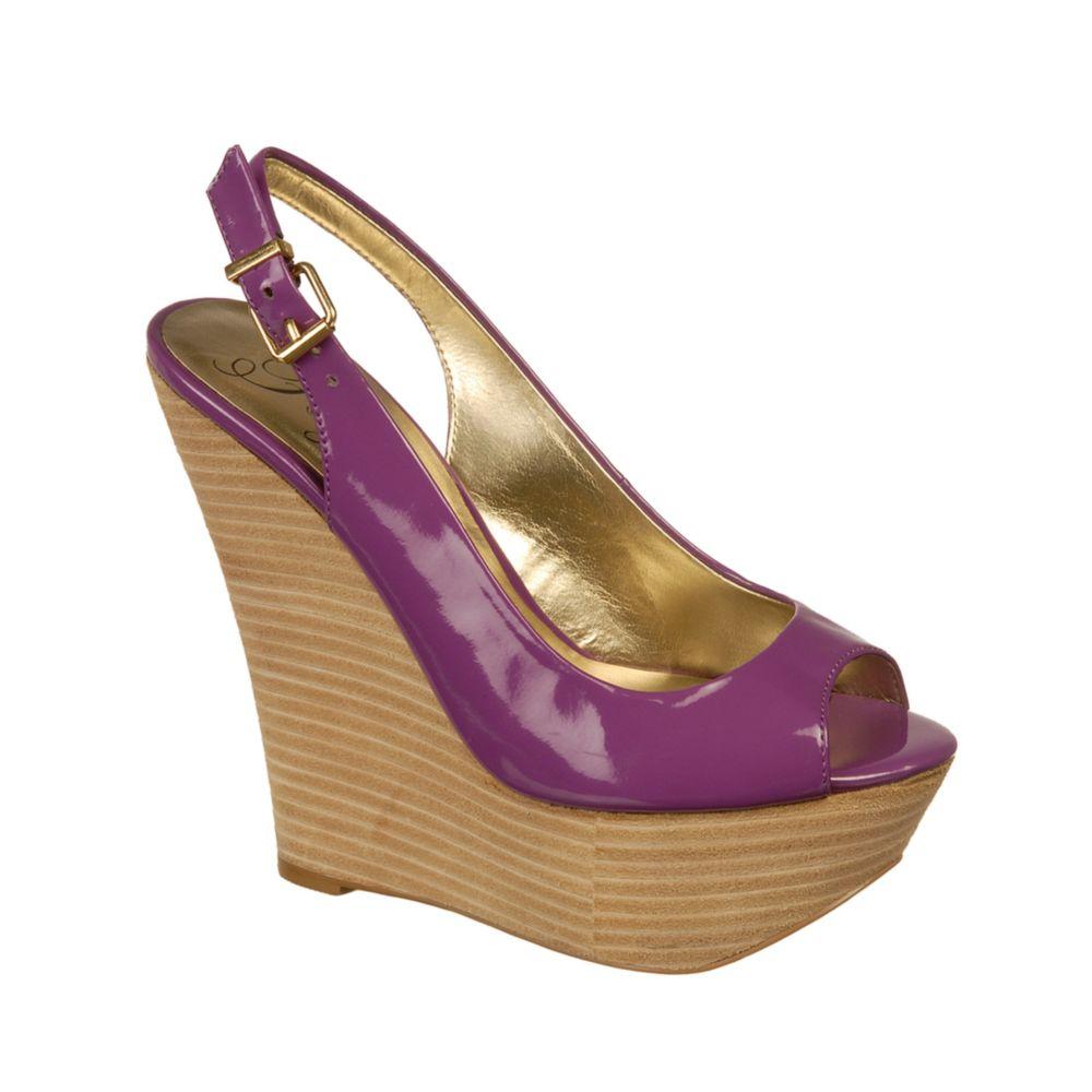 fergie bonita platform wedges in purple lyst