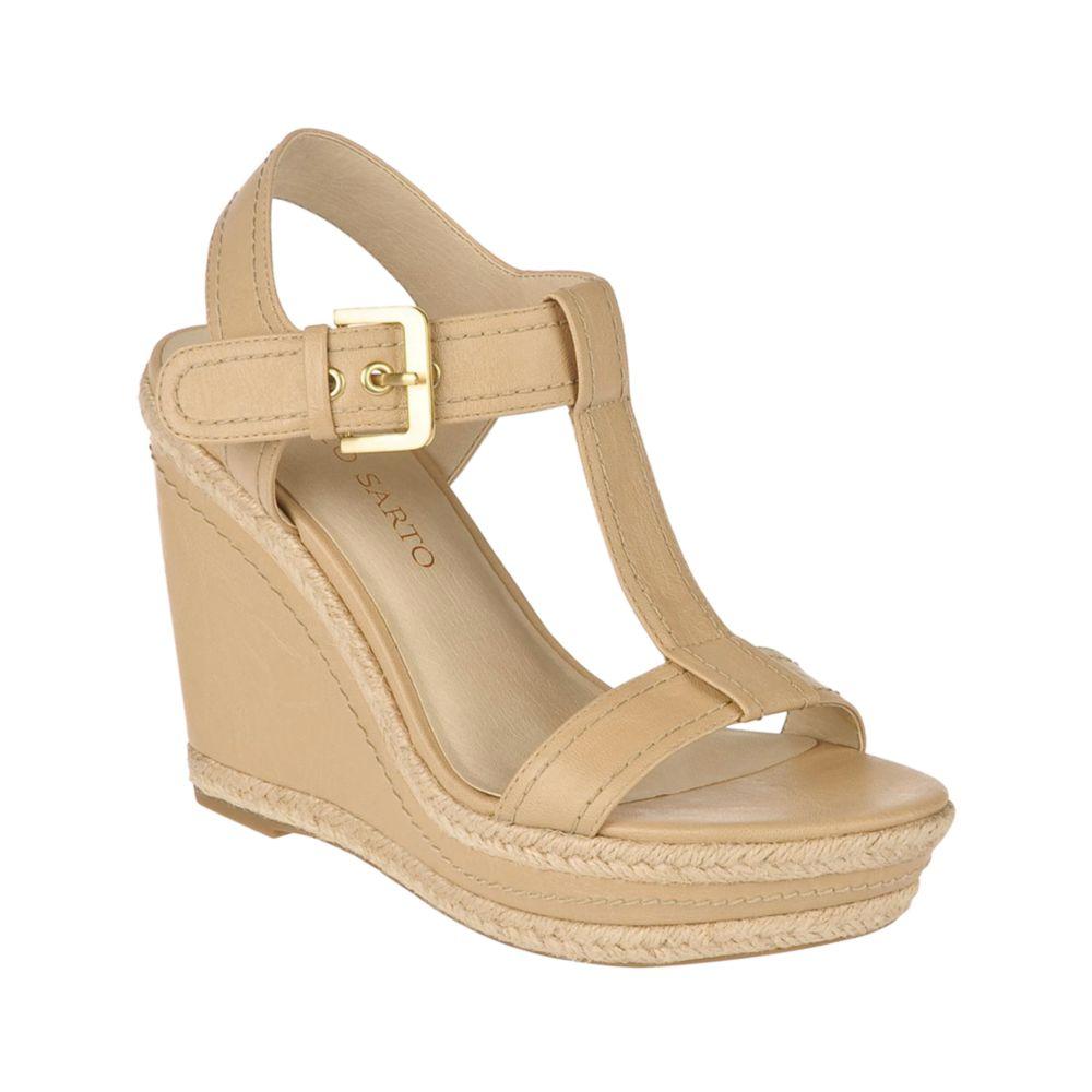 franco sarto ambrosia wedge sandals in beige sand lyst